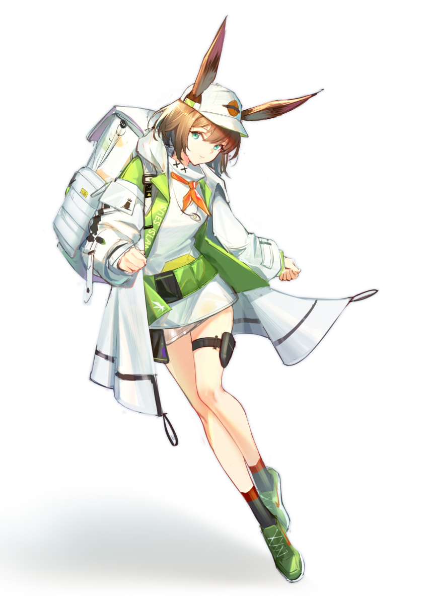 1girl absurdres alche_(benruce) alternate_costume alternate_hair_length alternate_hairstyle amiya_(arknights) animal_ears arknights backpack bag bare_legs baseball_cap breasts brown_hair chinese_commentary closed_mouth coat commentary cross-laced_footwear dress eyebrows_visible_through_hair full_body green_coat green_footwear hair_between_eyes hat highres holster light_blue_eyes looking_at_viewer medium_breasts neck_ribbon open_clothes open_coat orange_neckwear rabbit_ears rhodes_island_logo ribbon shoes short_dress short_hair simple_background smile solo thigh_holster thigh_strap turtleneck_dress two-tone_coat white_background white_coat white_dress white_headwear