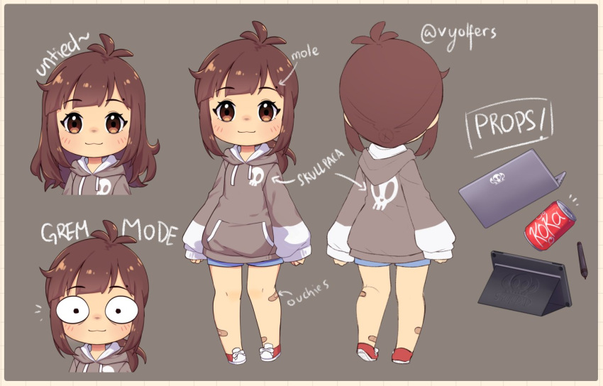 1girl artist_name bandaid bandaid_on_leg bangs blush brown_eyes brown_hair can character_sheet chibi denim denim_shorts drawing_tablet eyebrows_visible_through_hair grey_hoodie hood hoodie indie_virtual_youtuber looking_at_viewer medium_hair multiple_views short_shorts shorts sleeves_past_wrists smile soda_can stylus tied_hair virtual_youtuber vyolfers vyolfers_(vtuber) wide-eyed