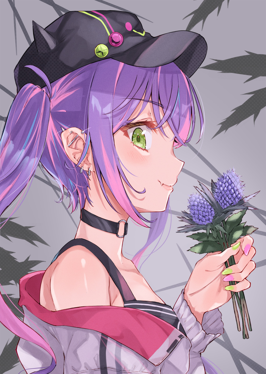 1girl absurdres bare_shoulders baseball_cap bibi_(tokoyami_towa) black_choker black_headwear black_tank_top choker closed_mouth ear_piercing fang fang_out fingernails flower from_side green_eyes haru_yu hat highres holding holding_flower hololive jacket long_fingernails long_sleeves looking_at_viewer mismatched_nail_polish multicolored_hair nail_polish o-ring o-ring_choker off-shoulder_jacket piercing profile purple_hair purple_nails sidelocks sideways_glance simple_background skin_fang smile solo streaked_hair tank_top tokoyami_towa twintails upper_body virtual_youtuber white_jacket yellow_nails