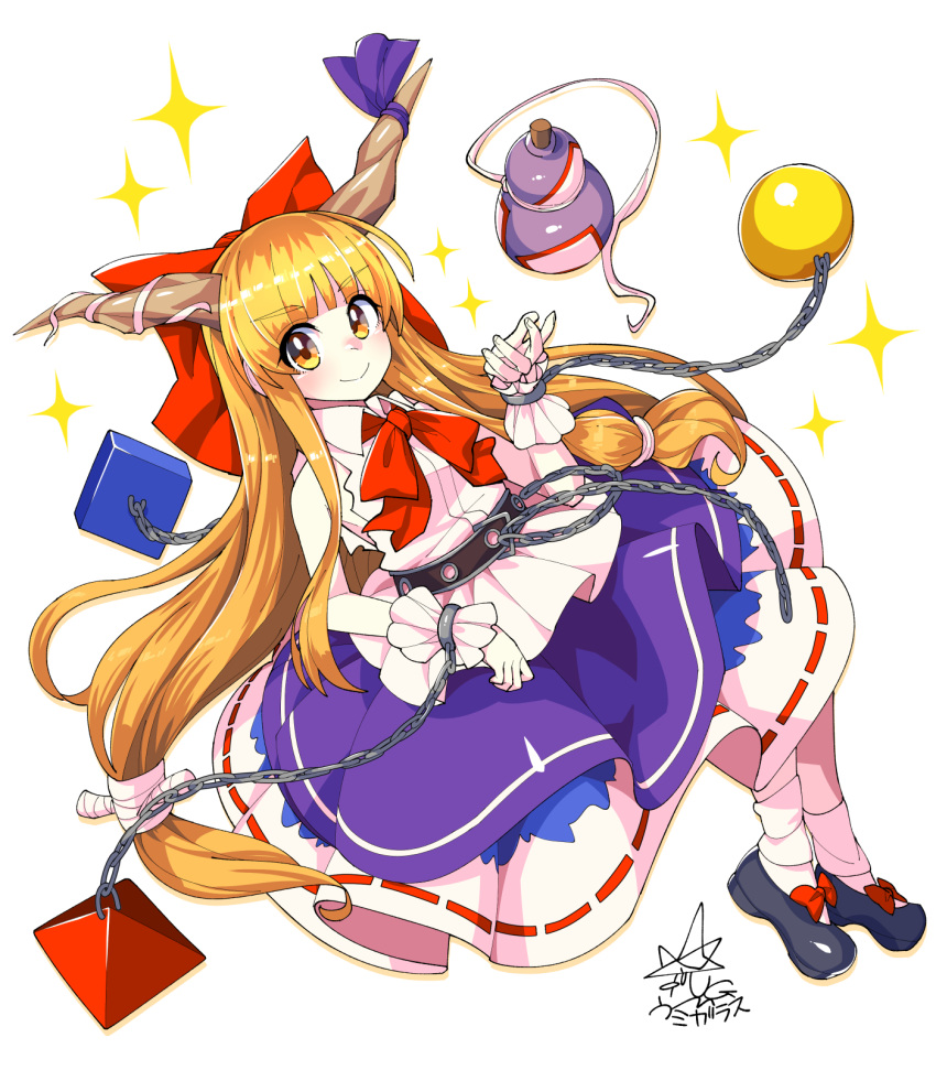 1girl bangs black_footwear blunt_bangs bow closed_mouth commentary cube cuffs eyebrows_visible_through_hair footwear_bow full_body gourd hair_bow highres horn_ornament horn_ribbon horns ibuki_suika long_hair looking_at_viewer low-tied_long_hair metal_belt orange_eyes orange_hair purple_ribbon purple_skirt pyramid red_bow red_neckwear ribbon shackles shirt signature simple_background skirt smile socks solo sphere star_(symbol) torn_clothes torn_sleeves touhou umigarasu_(kitsune1963) very_long_hair white_background white_legwear white_shirt wrist_cuffs