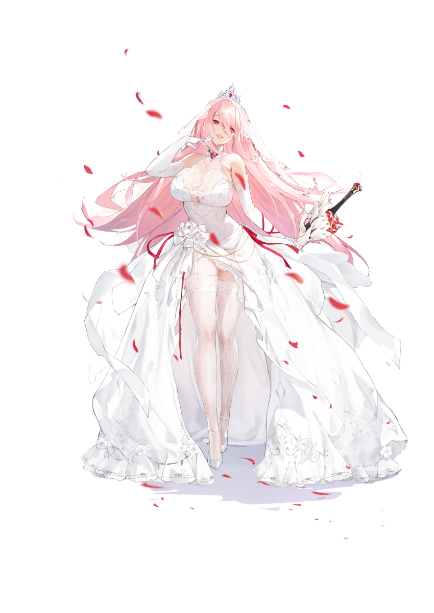 1girl absurdres artist_request bare_shoulders breasts dress earrings elbow_gloves eyebrows_behind_hair full_body garter_straps gloves hair_over_one_eye hand_to_own_mouth head_tilt highres huge_breasts jewelry kingsense lips long_hair official_art parted_lips petals pink_hair simple_background smile solo standing sword tachi-e thigh-highs tiara transparent_background very_long_hair weapon wedding_dress white_dress white_gloves white_legwear
