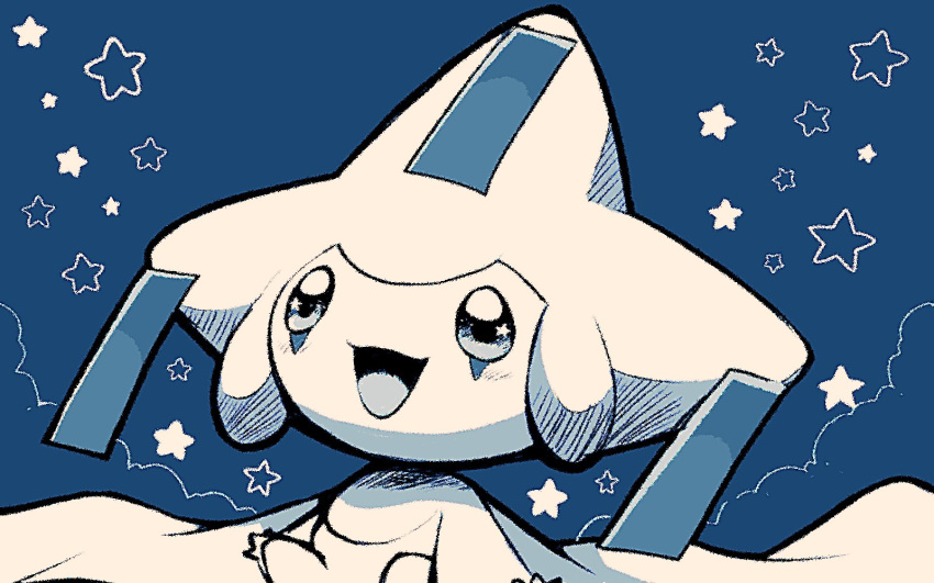 :d blue_background blush commentary_request gen_3_pokemon highres jirachi looking_up mythical_pokemon no_humans open_mouth pokemon pokemon_(creature) remon_(920moomin) smile solo star_(symbol) tongue