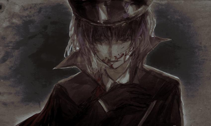 1girl bangs black_gloves black_headwear black_jacket black_neckwear blood blood_on_face cookie_(touhou) geru_futota gloves hat highres jacket looking_to_the_side military military_hat military_uniform necktie open_mouth peaked_cap purple_hair remilia_scarlet shirt short_hair solo touhou uniform upper_body violet_eyes white_shirt xbsx