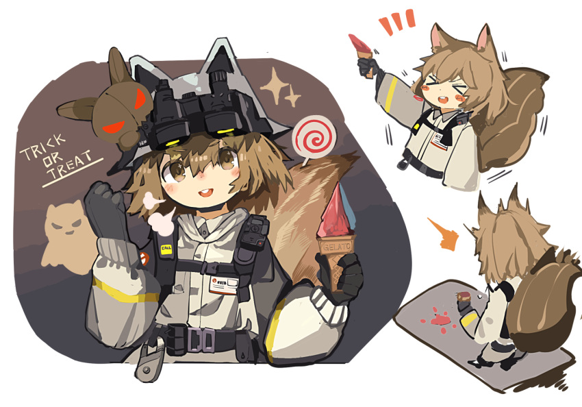 >_< 1girl :d ^^^ animal_ears animal_ears_helmet arknights bangs black_gloves blush_stickers brown_hair candy closed_eyes commentary_request cropped_torso eyebrows_visible_through_hair fake_animal_ears fire_helmet fire_jacket firefighter food gelato_(food) gloves grey_jacket holding holding_food ice_cream_cone jacket lollipop long_sleeves multiple_views notice_lines open_mouth puffy_long_sleeves puffy_sleeves ryu_(17569823) shaw_(arknights) smile sparkle spill squirrel_ears squirrel_girl squirrel_tail standing swirl_lollipop tail trick_or_treat upper_body upper_teeth xd
