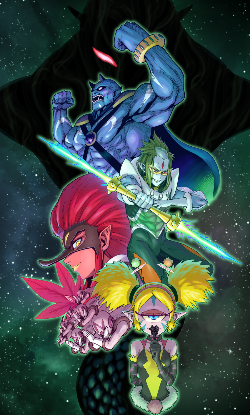 2girls 6+boys abs absurdres antennae arm_behind_back armpits bare_shoulders bindi black_mask blank_eyes blonde_hair blue_cape blue_eyes blue_skin bodypaint bodysuit cape closed_mouth cobra_(animal) colored_skin cropped_torso cyclops dark_pen darknest elbow_gloves energy_sword evil_grin evil_smile eyelashes eyeshadow eyewon_(precure) facepaint fangs from_side fur_trim garuouga_(precure) gloves glowing glowing_eyes green_bodysuit green_hair green_sky grin hairband half-closed_eyes highres itou_shin'ichi kappa kappard_(precure) lipstick looking_at_viewer makeup mask milky_way multiple_boys multiple_girls muscular muscular_male no no_pupils notray_(precure) one-eyed oni open_mouth pink_eyeshadow pink_hairband pink_skin pointy_ears portrait precure red_eyes red_lips red_pupils red_skin redhead shirtless sideways_glance sky smile spacesuit star_(sky) star_twinkle_precure starry_sky striped striped_gloves sunglasses sword tengu_mask tenjou_(precure) toned toned_male violet_eyes weapon x_arms yellow-tinted_eyewear yellow_eyes yellow_lips