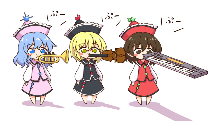 3girls black_dress black_headwear blonde_hair blue_eyes blue_hair blush_stickers brown_eyes brown_hair chibi commentary_request crescent crescent_hat_ornament dress eyebrows_visible_through_hair hat hat_ornament highres instrument keyboard_(instrument) lunasa_prismriver lyrica_prismriver medium_hair merlin_prismriver multiple_girls music pink_dress pink_headwear playing_instrument puffy_sleeves red_dress red_headwear shadow shitacemayo short_hair siblings simple_background sisters star_(symbol) star_hat_ornament touhou translated trumpet violin white_background yellow_eyes you're_doing_it_wrong