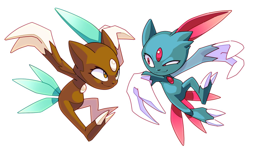 absurdres alternate_color arnaud_tegny brown_eyes claws closed_mouth commentary eye_contact eyelashes gen_2_pokemon half-closed_eye highres looking_at_another no_humans pokemon pokemon_(creature) red_eyes shiny_pokemon simple_background smile sneasel white_background