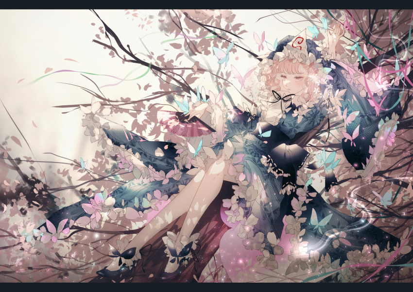 1girl arm_up bangs blue_bow blue_butterfly blue_footwear blue_kimono blue_sash bow bug butterfly butterfly_on_hand commentary_request crossed_legs expressionless fan flower_trim folding_fan frilled_hat frilled_kimono frills full_body ghost hat highres hitodama holding holding_fan in_tree insect japanese_clothes kimono letterboxed long_sleeves majamari mob_cap obi pink_butterfly pink_eyes pink_hair print_kimono ribbon saigyouji_yuyuko sash short_hair sitting sitting_in_tree solo swept_bangs touhou tree tree_branch triangular_headpiece wide_sleeves