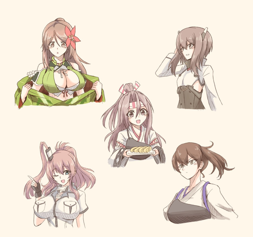 5girls amagi_(kancolle) bangs black_gloves breast_pocket breasts brown_hair closed_mouth cropped_torso dress fingerless_gloves flat_chest flower food gloves hachimaki hair_between_eyes hair_flower hair_ornament headband headgear holding huge_breasts japanese_clothes kaga_(kancolle) kantai_collection kimono large_breasts long_hair multiple_girls muneate omelet one_eye_closed open_mouth pocket ponytail saratoga_(kancolle) short_hair short_sleeves side_ponytail sidelocks simple_background suke_(share_koube) taihou_(kancolle) tamagoyaki upper_body wide_sleeves yellow_background zuihou_(kancolle)