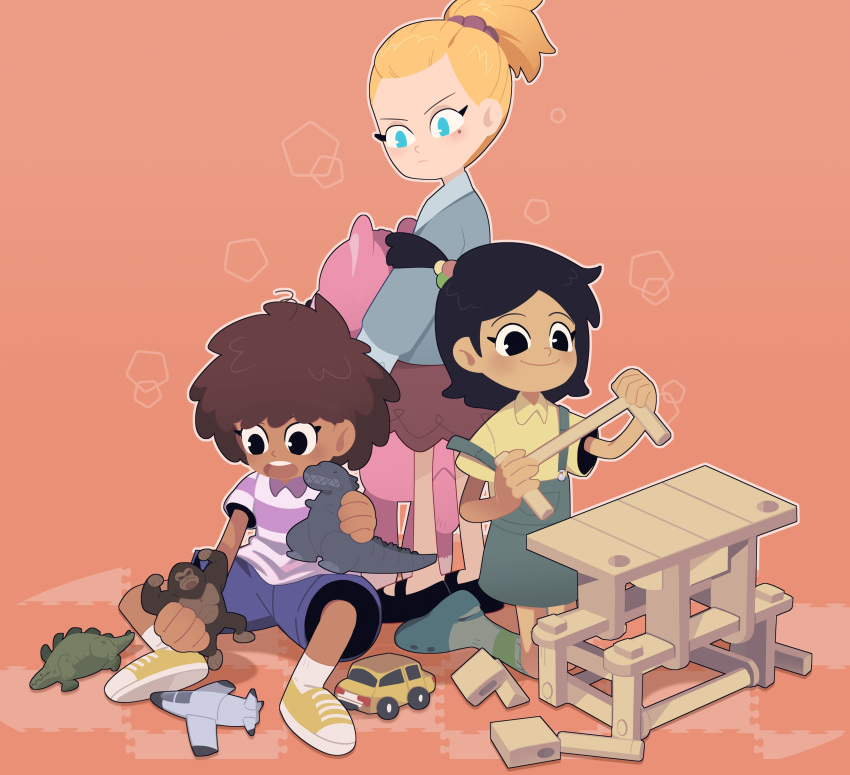 3girls absurdres amphibia anne_boonchuy black_hair blonde_hair blue_eyes brown_hair building_block caroro117 dark_skin dark_skinned_female dinosaur dress frown godzilla highres holding holding_toy jacket king_kong looking_at_another marcy_wu medium_hair multiple_girls open_mouth overall_skirt playing ponytail sasha_waybright scrunchie shirt shoes shorts simple_background smile sneakers socks stuffed_toy t-shirt toy toy_airplane toy_car younger