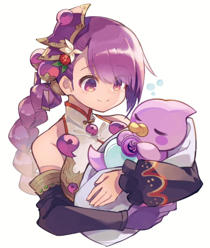 1girl absurdres bangs bare_shoulders black_sleeves braid breasts character_request closed_mouth covered_collarbone detached_sleeves dress eyebrows_visible_through_hair flower gloves hair_flower hair_ornament highres hug kuuron_(moesann17) long_hair long_sleeves medium_breasts pacifier puffy_long_sleeves puffy_sleeves purple_gloves purple_hair puzzle_&_dragons red_eyes simple_background single_braid single_glove sleeveless sleeveless_dress smile white_background white_dress white_flower