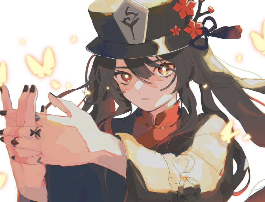 black_headwear black_nails bug butterfly collared_shirt commentary flower flower-shaped_pupils genshin_impact hair_between_eyes hat hat_flower hat_ornament highres hu_tao insect jewelry long_hair looking_at_viewer mono_02 multiple_rings nail_polish parted_lips porkpie_hat red_flower ring shirt symbol-shaped_pupils tailcoat thumb_ring