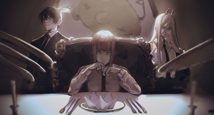 +_+ 1boy 2girls blurry breasts candle candlestand chainsaw_man collared_shirt commentary demon_horns depth_of_field dress_shirt eyelashes folded_napkin fork formal greyscale hair_between_eyes hayakawa_aki_(chainsaw_man) highres horns jacket knife light long_hair long_sleeves looking_at_viewer makima_(chainsaw_man) makimasansuki medium_breasts monochrome multiple_girls necktie off_shoulder open_clothes open_jacket painting_(object) partially_colored plate pochita_(chainsaw_man) power_(chainsaw_man) red_eyes ringed_eyes shirt short_hair sitting smile spoon standing suit topknot twitter_username upper_body