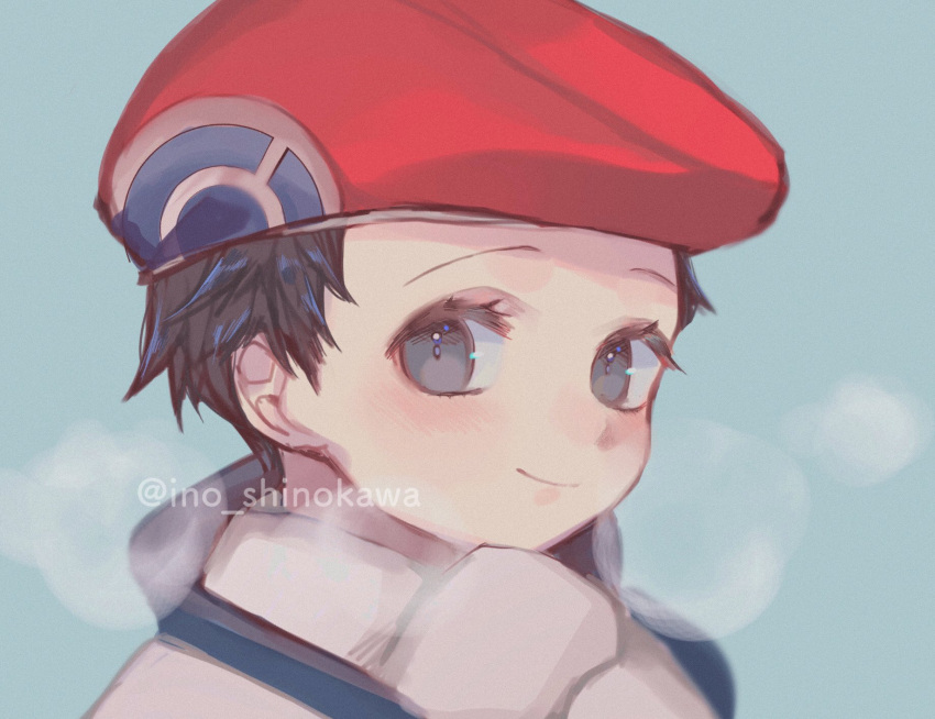 1boy artist_name black_hair blush closed_mouth commentary_request eyelashes grey_eyes hat highres ino_shinokawa looking_at_viewer lucas_(pokemon) male_focus pokemon pokemon_(game) pokemon_dppt pokemon_platinum portrait red_headwear scarf short_hair smile solo watermark white_scarf