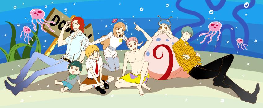 background breasts eugene_h._krabs eugene_h._krabs_(cosplay) gary_the_snail gary_the_snail_(cosplay) human jelly_fish nickelodeon patrick_star patrick_star_(cosplay) sandy_cheeks sandy_cheeks_(cosplay) sheldon_j._plankton sign spongebob_squarepants spongebob_squarepants_(character) spongebob_squarepants_(cosplay) squidward_tentacles squidward_tentacles_(cosplay)