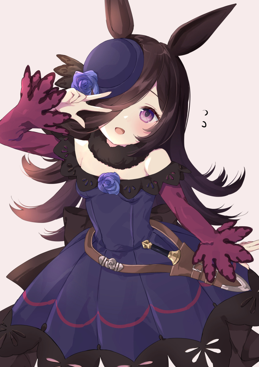 1girl :d arm_up bangs bare_shoulders blue_dress blue_flower blue_headwear blue_rose breasts brown_hair commentary_request dagger dress eyebrows_visible_through_hair flower flying_sweatdrops grey_background hair_over_one_eye hat hat_flower head_tilt highres long_hair long_sleeves looking_at_viewer off-shoulder_dress off_shoulder open_mouth purin_jiisan rice_shower_(umamusume) rose simple_background sleeves_past_wrists smile solo tilted_headwear umamusume v_over_eye very_long_hair violet_eyes weapon