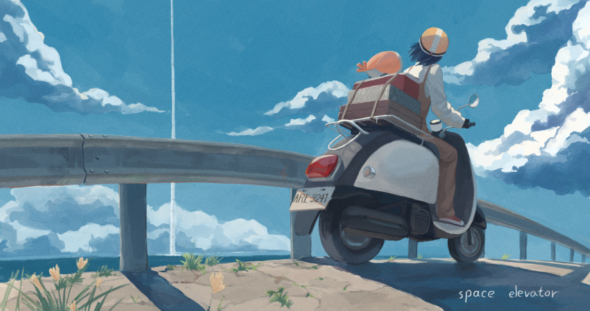 1girl black_hair blue_sky brown_overalls clouds english_text flower grass ground_vehicle helmet horizon license_plate luggage motor_vehicle ocean original others outdoors overalls railing road scenery scooter shadow shirt short_hair sky solo tower white_shirt wide_shot