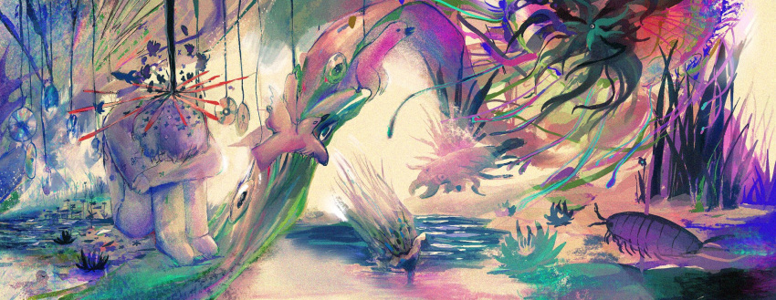 1boy abstract bird bug cocontma grass highres insect knees_up long_sleeves original plant reflection sitting solo surreal wide_shot
