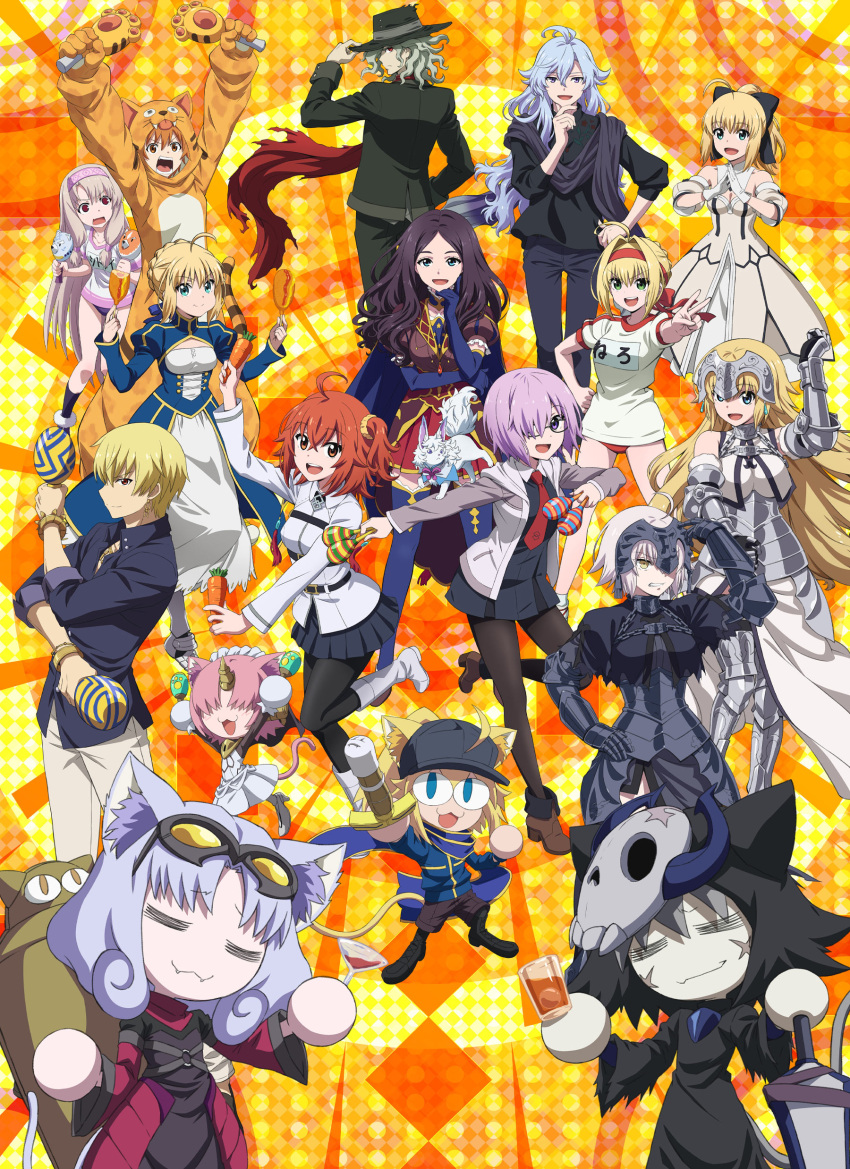 1boy 6+girls absurdres ahoge alcohol armor armored_dress artoria_pendragon_(all) baseball_cap black_dress black_legwear black_skirt blonde_hair blue_eyes boots breasts brown_hair buruma carrot chaldea_uniform confetti corn_dog cosplay cup dress drinking_glass edmond_dantes_(fate) eyebrows_visible_through_hair fangs fate/grand_carnival fate/grand_order fate_(series) fou_(fate) fujimaru_ritsuka_(female) gauntlets gilgamesh_(caster)_(fate) gilgamesh_(fate) glasses green_eyes gym_uniform hair_ornament hair_over_one_eye hair_scrunchie hat highres horns illyasviel_von_einzbern instrument jacket jaguarman_(fate) jeanne_d'arc_(alter)_(fate) jeanne_d'arc_(fate)_(all) key_visual large_breasts light_purple_hair long_sleeves looking_at_viewer looking_back maracas mash_kyrielight medium_breasts merlin_(fate) multiple_girls mysterious_neko_v mysterious_neko_w mysterious_neko_x mysterious_neko_y necktie nero_claudius_(fate) nero_claudius_(fate)_(all) official_art open_mouth orange_eyes orange_hair pantyhose pleated_skirt red_eyes saber_lily scar scar_on_face scarf scrunchie shinai short_hair side_ponytail single_horn sitonai_(fate) skirt skull_mask small_breasts smile sword tail thigh-highs upper_teeth violet_eyes weapon white_footwear wine wine_glass yellow_eyes zettai_ryouiki