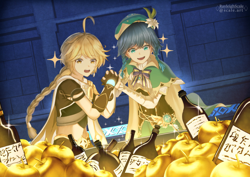 2boys aether_(genshin_impact) ahoge androgynous apple bangs beret black_hair blonde_hair blue_hair bottle bow braid brooch cape collared_cape collared_shirt corset english_commentary eyebrows_visible_through_hair flower food frilled_sleeves frills fruit gem genshin_impact gloves golden_apple gradient_hair green_eyes green_headwear green_shorts hair_between_eyes hat hat_flower highres holding holding_hands jewelry leaf long_hair long_sleeves male_focus midriff multicolored_hair multiple_boys navel open_mouth pinwheel rayleigh_scale scarf shirt short_hair_with_long_locks shorts smile sparkle stone_wall twin_braids venti_(genshin_impact) vision_(genshin_impact) wall white_flower white_shirt wine_bottle yellow_eyes