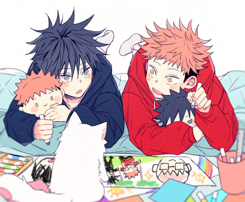 2boys animal black_eyes black_hair black_hoodie blush cat child child_drawing cup dmsco1803 full_body fushiguro_megumi highres holding_crayon hood hood_down hoodie itadori_yuuji jujutsu_kaisen long_sleeves looking_at_another lying male_focus multiple_boys on_stomach open_mouth pink_hair red_hoodie short_hair simple_background smile spiky_hair stuffed_toy toy undercut white_background yellow_eyes younger