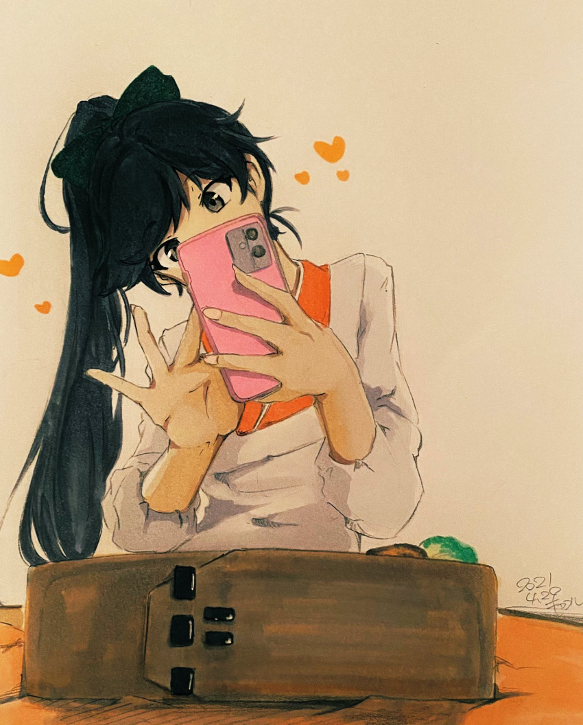 bangs black_bow black_hair bow cellphone chakoru commentary_request dark_blue_hair dated facing_viewer fingernails food grey_eyes head_tilt heart hidden_mouth highres holding holding_phone houshou_(kancolle) japanese_clothes kantai_collection kappougi kimono long_fingernails long_hair looking_at_phone obentou orange_kimono parted_bangs phone ponytail sleeves_past_elbows smartphone taking_picture traditional_media upper_body