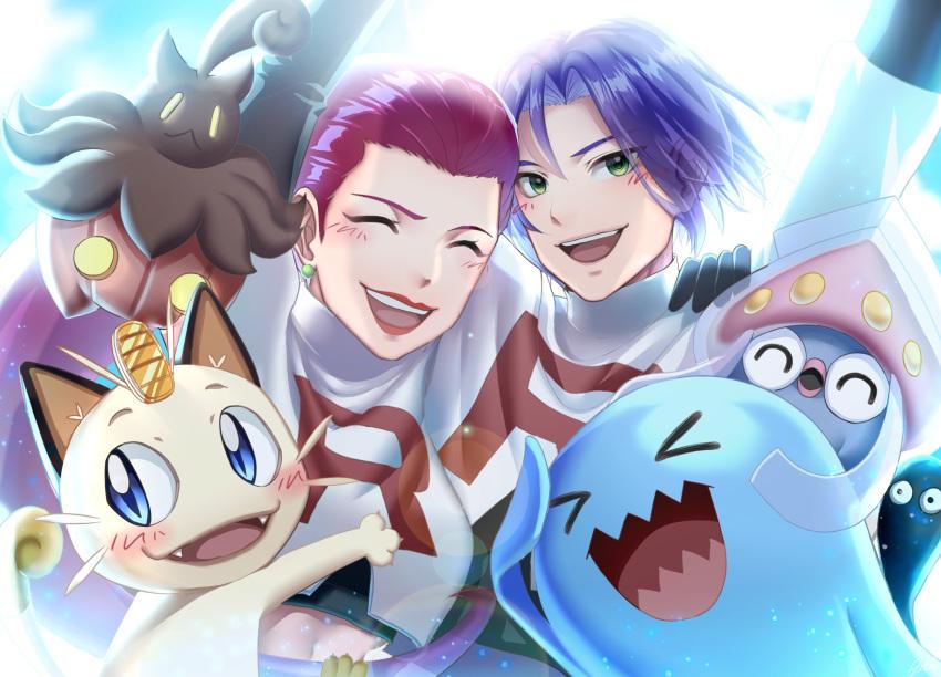 gen_1_pokemon gen_2_pokemon gen_6_pokemon gourgeist happy highres inkay james_(pokemon) jessie_(pokemon) meowth pokemon pokemon_(anime) pokemon_(creature) pokemon_(game) pokemon_xy smile wobbuffet znbi_ovo