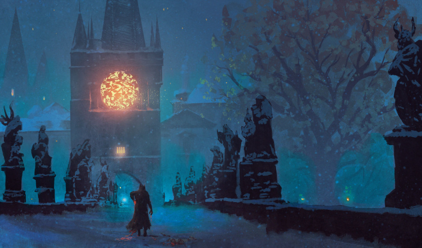 1other anato_finnstark bleeding blood bloodborne blue_theme castle coat commentary english_commentary from_behind hat highres snow statue tower tree walking