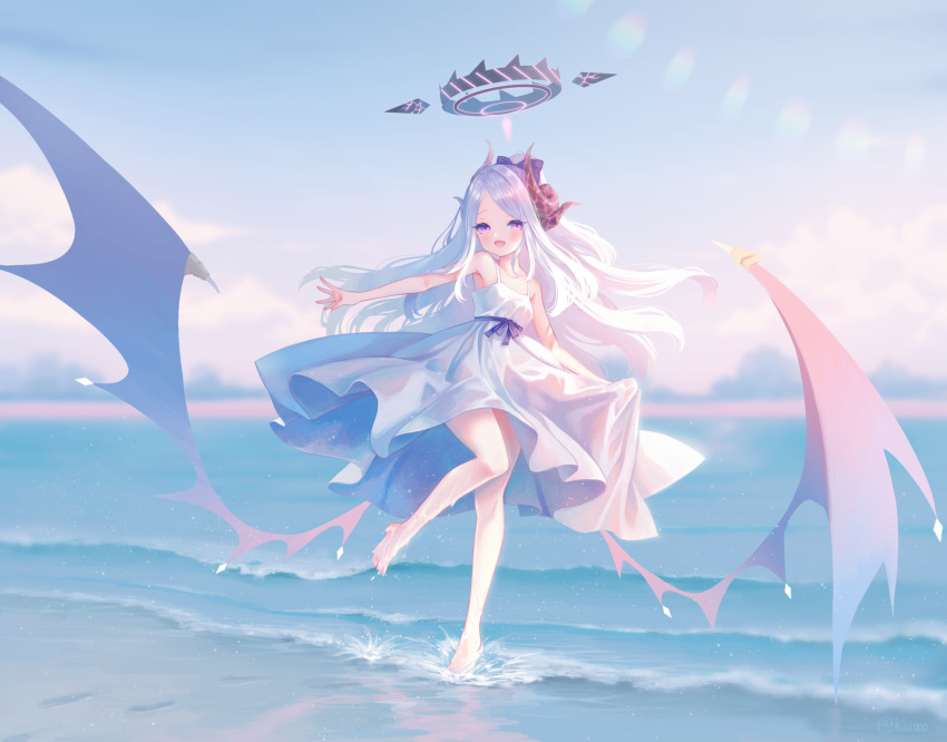 1girl alternate_costume barefoot blue_archive blush breasts day dress fang hair_ribbon halo highres hina_(blue_archive) horns leg_up long_hair low_wings multiple_horns nishiki_koi open_mouth outdoors ponytail ribbon skirt_hold sky small_breasts solo very_long_hair violet_eyes water wet white_dress white_hair wings