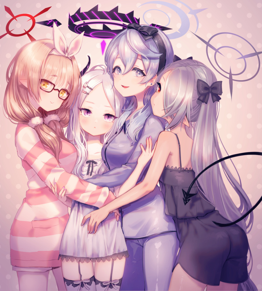 4girls ako_(blue_archive) alternate_hairstyle ass bangs blue_archive blush breasts chinatsu_(blue_archive) garter_straps glasses grey_hair hair_between_eyes hair_ornament hair_over_one_eye hair_ribbon hair_scrunchie hairband hairclip halo highres hina_(blue_archive) horns hug iori_(blue_archive) light_brown_hair long_hair long_sleeves medium_breasts multiple_girls nishiki_koi open_mouth pajamas pointy_ears polka_dot polka_dot_background ribbon scrunchie shorts simple_background size_difference smile striped tail thigh-highs twintails violet_eyes yellow_eyes