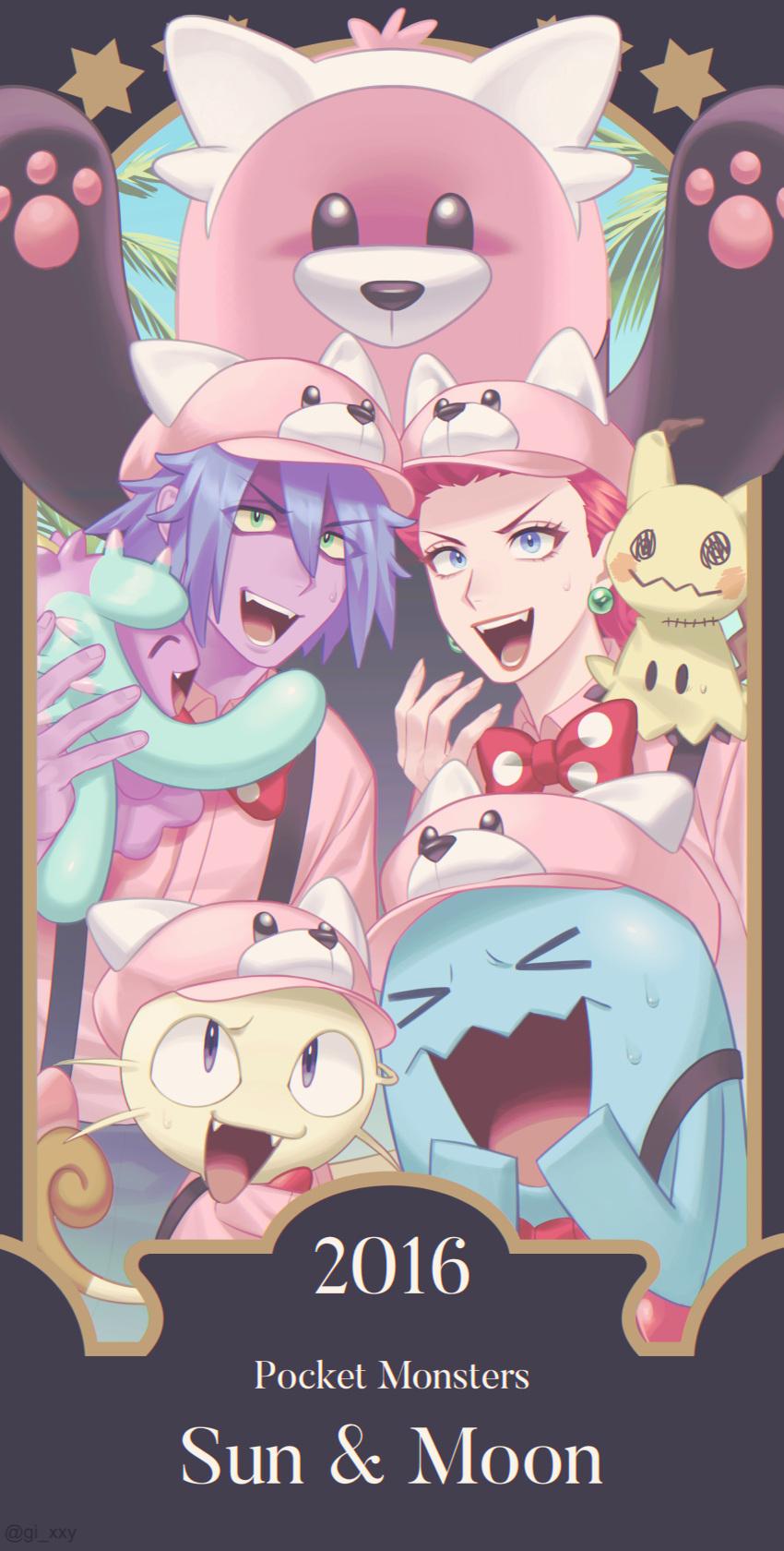 1boy 1girl :d absurdres bewear blue_eyes blue_hair bow bowtie colored_skin commentary_request copyright_name earrings eyelashes gen_1_pokemon gen_2_pokemon gen_7_pokemon green_eyes hat highres james_(pokemon) jessie_(pokemon) jewelry long_hair mareanie meowth mimikyu number on_shoulder open_mouth pink_headwear pink_shirt pokemon pokemon_(anime) pokemon_(creature) pokemon_on_shoulder pokemon_sm_(anime) polka_dot_neckwear purple_skin red_neckwear redhead ruru_(gi_xxy) shirt smile star_(symbol) suspenders team_rocket teeth tongue wobbuffet