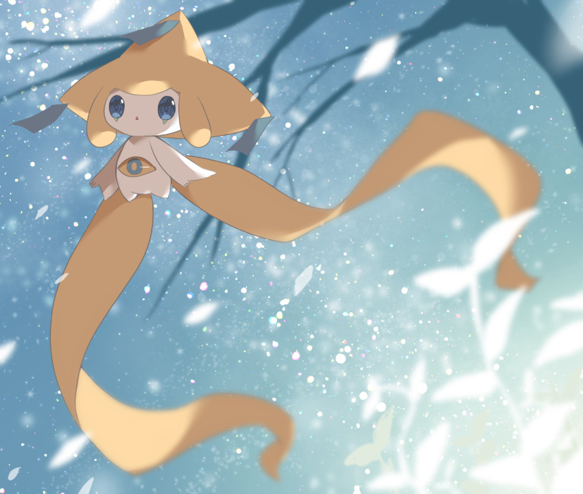 bare_tree blue_eyes blurry budouwain colored_skin commentary_request floating gen_3_pokemon jirachi leaf mythical_pokemon no_humans parted_lips pokemon pokemon_(creature) snowing solo tree white_skin