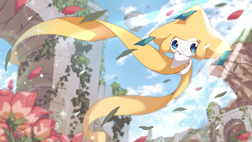 blue_eyes blurry budouwain closed_mouth clouds commentary_request day flower from_below gen_3_pokemon jirachi light_rays mythical_pokemon no_humans outdoors petals plant pokemon pokemon_(creature) ruins sky smile vines