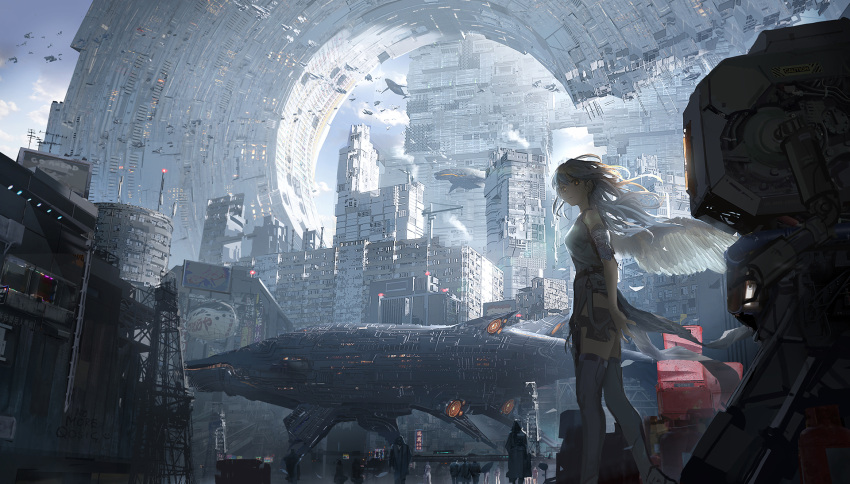 1girl angel_wings architecture breasts building city cityscape dress english_commentary faceless feathered_wings feathers feet_out_of_frame gradient_hair grey_dress grey_hair highres looking_at_viewer megastructure multicolored_hair original qosic red_eyes robot scenery science_fiction shadow side_slit sky skyscraper sleeveless solo_focus space_craft thigh-highs thigh_strap white_hair white_wings wings