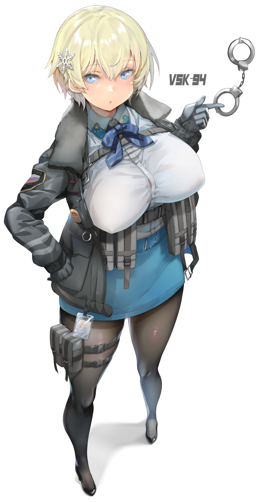 1girl :o absurdres bangs belt black_footwear black_gloves black_jacket black_legwear blonde_eyelashes blonde_hair blue_belt blue_eyes blue_neckwear blue_skirt bow bowtie breasts button_gap character_name collared_shirt commentary_request covered_nipples cuffs eyebrows_visible_through_hair full_body girls_frontline gloves hair_between_eyes hair_ornament hand_on_hip handcuff_dangle handcuffs high_heels highres id_card jacket large_breasts light_blush load_bearing_vest long_sleeves looking_at_viewer magazine_(weapon) mole mole_under_eye pantyhose pouch russian_flag shadow sharekoube shirt shirt_tucked_in short_hair sidelocks simple_background skirt snap-fit_buckle snowflake_hair_ornament solo standing taut_clothes taut_skirt thigh_pouch tsurime vsk-94_(girls_frontline) walkie-talkie white_background white_shirt