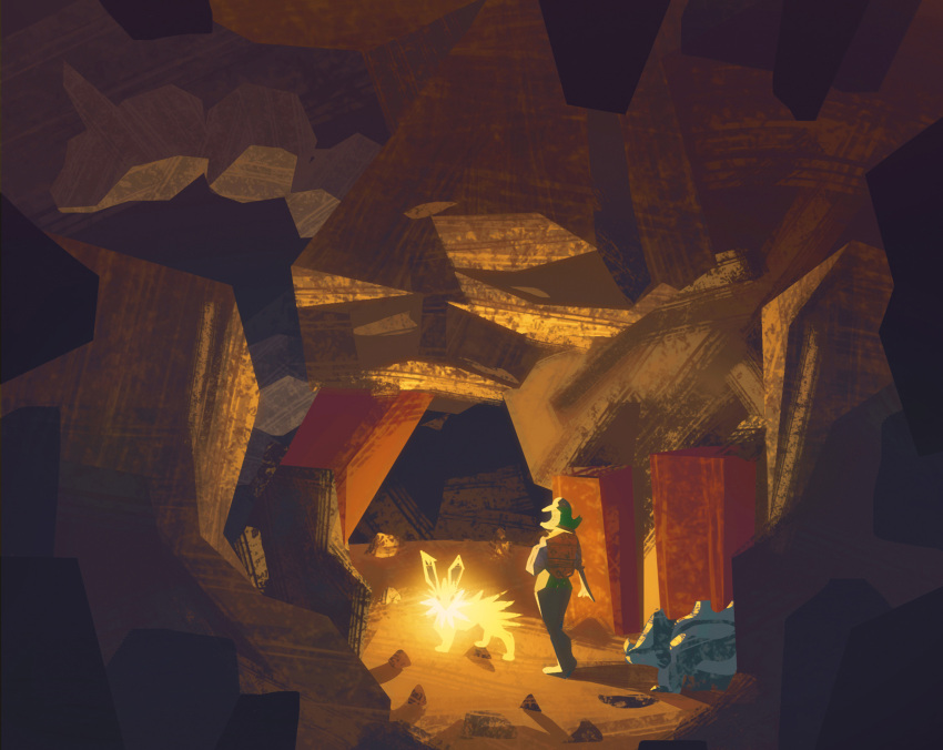 1girl backpack bag cave commentary english_commentary gen_1_pokemon glowing hat highres jolteon long_hair no_humans onix outdoors pokemon pokemon_(creature) rhyhorn rock simone_mandl standing