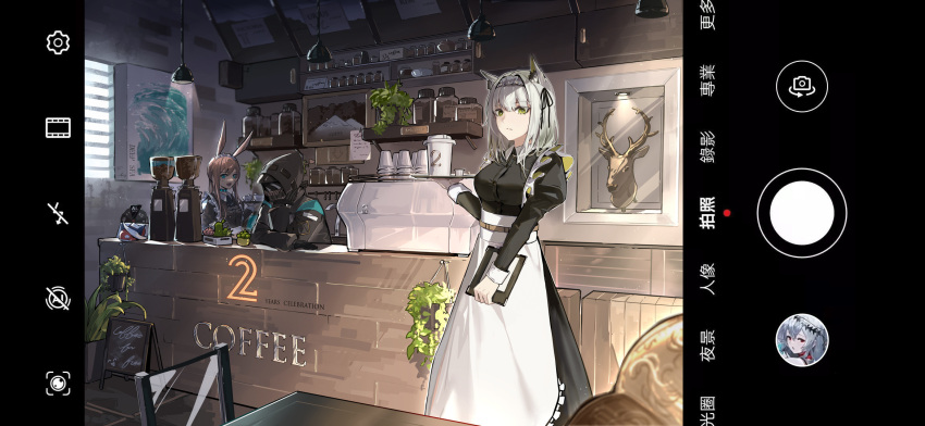 1other 2girls alternate_costume ambiguous_gender amiya_(arknights) animal_ears apron arknights ascot bangs black_dress black_jacket blue_eyes blue_neckwear breasts brown_hair camera choker coffee collared_dress commentary_request counter cup doctor_(arknights) dress english_text enmaided eyebrows_visible_through_hair frills green_eyes hair_between_eyes highres holding hood hooded_jacket hoodie indoors jacket kal'tsit_(arknights) long_sleeves looking_at_viewer lynx_ears maid maid_apron maid_headdress mask multiple_girls painting_(object) plant rabbit_ears shop silver_hair sleeve_cuffs spinning_wheel stuffed_animal stuffed_orca stuffed_toy taking_picture white_apron yuan_long