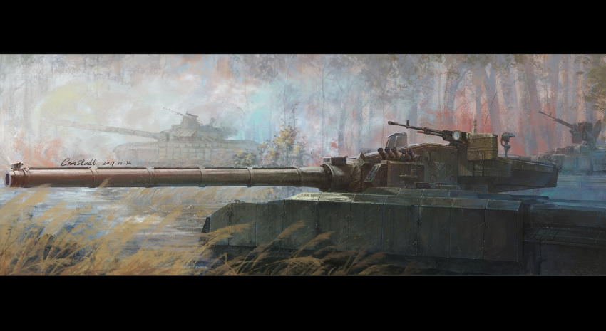 caterpillar_tracks commentary_request cronstatd dated day forest ground_vehicle gun highres machine_gun military military_vehicle motor_vehicle nature no_humans object_477 original signature t-72 tank tree weapon wetland