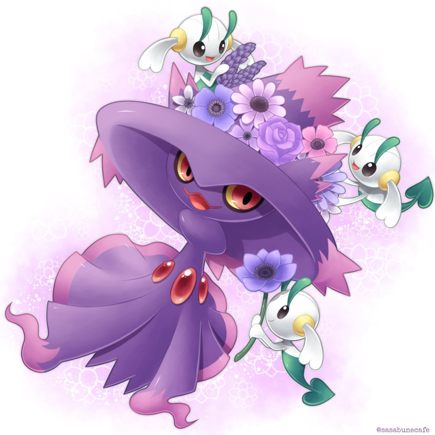 artist_name closed_mouth colored_sclera commentary_request floette flower gen_4_pokemon gen_6_pokemon happy highres holding holding_flower looking_to_the_side mismagius open_mouth pokemon pokemon_(creature) purple_flower red_eyes sasabunecafe smile tongue watermark yellow_sclera