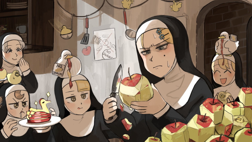 5girls apple apple_peel banana bird blonde_hair brown_hair catholic closed_eyes commentary cup diva_(hyxpk) doorway drawing drooling duck duckling english_commentary english_text flower food fruit grey_hair habit hair_flower hair_ornament hairclip highres holding holding_food holding_fruit holding_knife holding_plate knife ladle little_nun_(diva) mole multiple_girls nun peeling plate poster_(object) sign smile sparkling_eyes spatula sweat sweatdrop tongue tongue_out