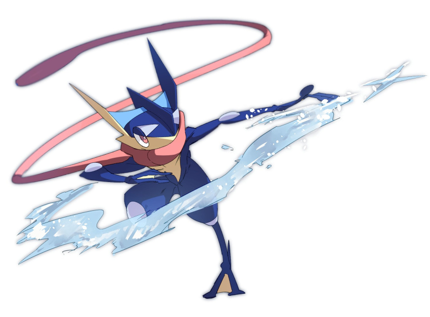 blurry bright_pupils full_body gen_6_pokemon greninja highres morio_(poke_orio) no_humans outstretched_arm pokemon pokemon_(creature) solo standing standing_on_one_leg toes tongue_scarf water water_drop white_background white_pupils