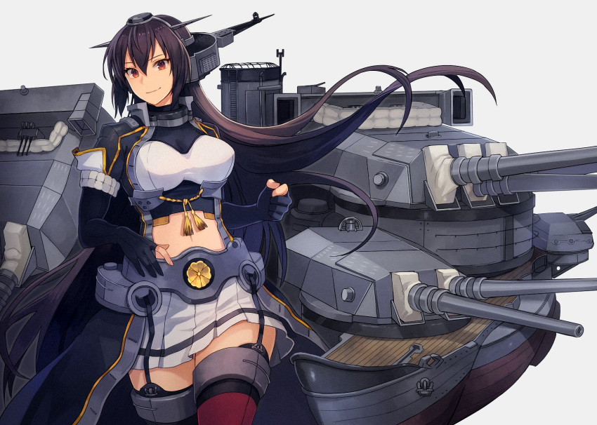 1girl black_coat black_gloves black_hair breasts brown_eyes closed_mouth coat cowboy_shot elbow_gloves eyebrows_visible_through_hair gloves grey_background hair_between_eyes headgear highres kantai_collection kasumi_(skchkko) large_breasts long_coat long_hair machinery nagato_(kancolle) navel partially_fingerless_gloves red_legwear remodel_(kantai_collection) rigging simple_background skirt smile solo thigh-highs turret white_skirt
