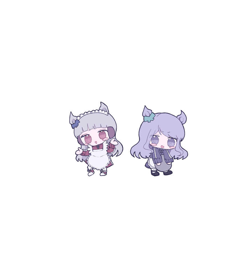 2girls :> absurdres adapted_costume alternate_costume animal_ears apron bangs black_footwear blue_bow blush_stickers bow brown_dress brown_eyes brown_footwear chibi dress ear_bow enmaided eyebrows_visible_through_hair frilled_apron frills gold_ship_(umamusume) green_bow grey_hair highres holding holding_tray horse_ears long_sleeves looking_at_viewer maid maid_apron maid_headdress mejiro_mcqueen_(umamusume) multiple_girls pantyhose parted_lips purple_hair ringed_eyes shoes simple_background tray triangle_mouth umamusume v-shaped_eyebrows violet_eyes white_apron white_background white_legwear wotoha