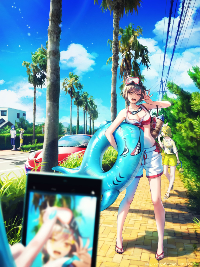 2boys 4girls anko_anko aqua_hair aqua_nails arms_behind_head bag blonde_hair blue_hair blue_shorts blue_sky blurry blurry_foreground bottle bow bra brown_eyes brown_hair car cellphone commentary day eating food goggles goggles_around_neck ground_vehicle hair_bow hand_up hatsune_miku highres holding holding_innertube holding_phone innertube kagamine_len kagamine_rin kaito looking_at_viewer megurine_luka meiko motor_vehicle multiple_boys multiple_girls nail_polish open_mouth outdoors palm_tree phone popsicle pose pov pov_hands power_lines road shark_print shirt short_hair shorts sitting sky smartphone smile spaghetti_strap spiky_hair street summer taking_picture tree underwear utility_pole vocaloid water_bottle waving white_bow white_shirt white_shorts yellow_shorts