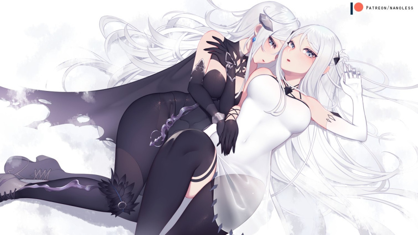 2girls bed_sheet black_dress black_gloves black_legwear breasts china_dress chinese_clothes copyright_request covered_navel dress elbow_gloves gloves long_hair looking_at_viewer lying medium_breasts multiple_girls nanoless navel nipples on_back patreon_username thigh-highs underwear underwear_only very_long_hair white_eyes white_gloves white_hair