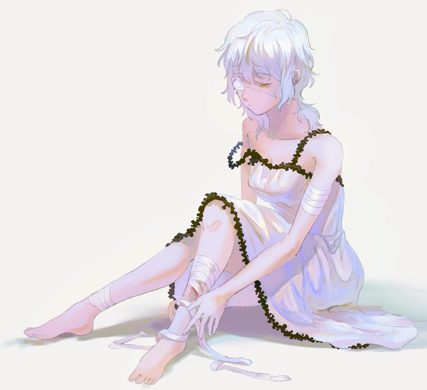 1girl 64kawa4 bandages barefoot claudia_hortensia dress eyepatch fate/stay_night fate_(series) highres injury looking_down sad short_hair sitting solo wavy_hair white_dress white_hair yellow_eyes