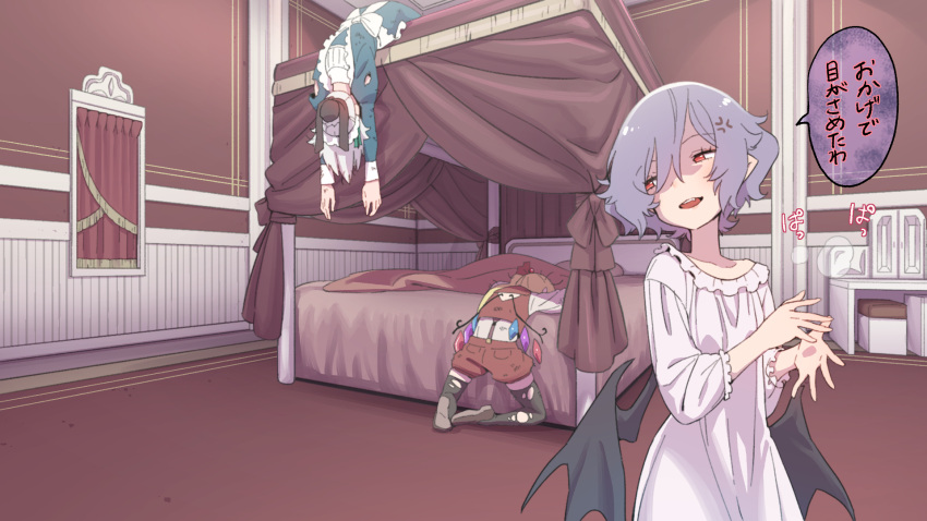3girls anger_vein bat_wings bed black_legwear blonde_hair blue_dress brown_footwear commentary_request crystal dress flandre_scarlet four-poster_bed grey_hair highres injury izayoi_sakuya juliet_sleeves kawayabug long_hair long_sleeves maid multiple_girls open_mouth pink_dress pointy_ears puffy_sleeves red_eyes red_shorts red_vest remilia_scarlet shirt short_hair shorts suspenders thigh-highs torn_clothes torn_dress torn_legwear touhou translation_request vest white_shirt wings
