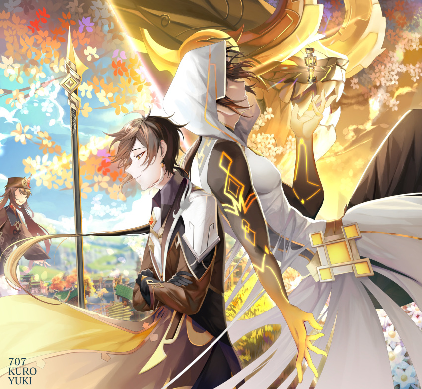 1boy 1girl 707kuroyuki absurdres alternate_costume architecture arm_tattoo azhdaha_(genshin_impact) bangs bare_shoulders black_gloves brown_hair city closed_mouth clouds cloudy_sky coat coattails collared_shirt covered_eyes crossed_arms day dragon dragon_horns east_asian_architecture english_commentary eyeliner eyeshadow floating floating_object flower formal genshin_impact gloves gnosis_(genshin_impact) gradient_hair grass hat hat_flower hat_ornament highres hood hood_up hooded_coat horns hu_tao jacket jewelry long_hair long_sleeves makeup male_focus multicolored_hair necktie open_mouth orange_hair outdoors planted_spear polearm ponytail porkpie_hat red_eyeshadow ring shirt shorts sky sleeveless smile solo_focus spear suit talisman tattoo tree twintails weapon white_coat white_flower yellow_eyes zhongli_(genshin_impact)