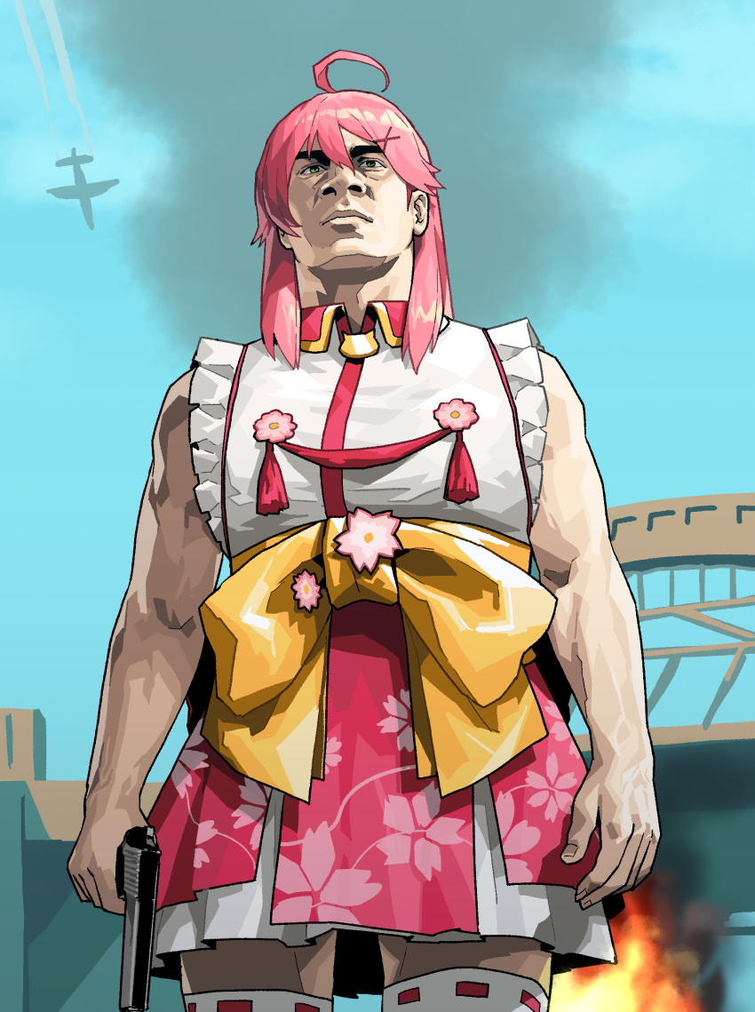 1girl absurdres ahoge aircraft airplane bare_arms bare_shoulders closed_mouth commentary cowboy_shot english_commentary fingernails fire franklin_clinton fusion gogalking grand_theft_auto grand_theft_auto_v green_eyes gun handgun highres holding holding_gun holding_weapon japanese_clothes kimono looking_at_viewer manly medium_hair outdoors parody pink_hair pistol sakura_miko sash smoke solo tassel thigh-highs weapon white_legwear yellow_sash