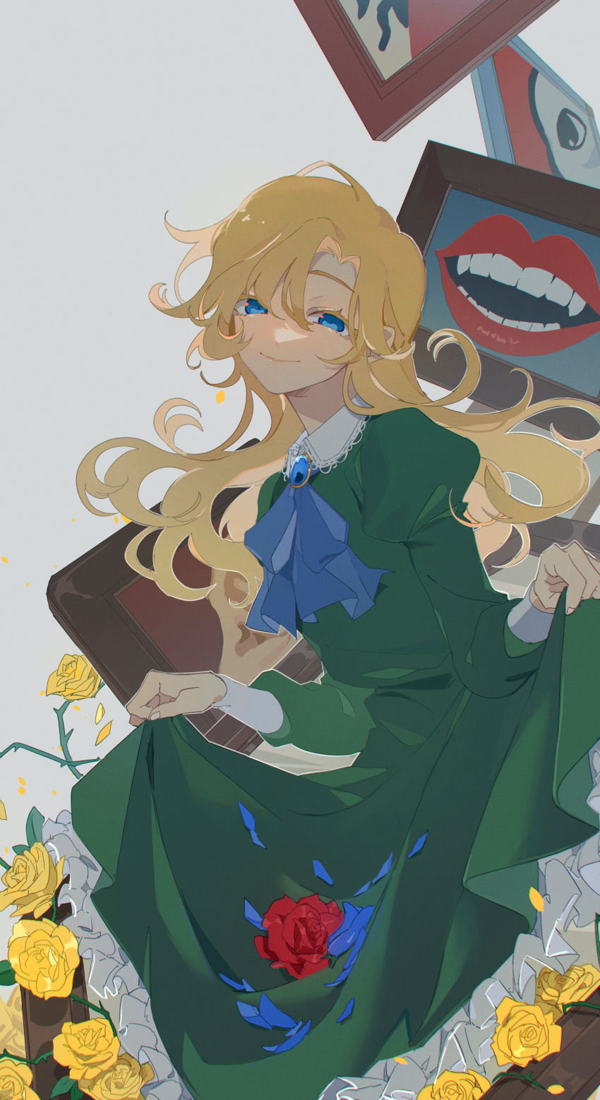 1girl absurdres blonde_hair blue_flower blue_neckwear blue_rose cravat dress flower frilled_dress frills green_dress grey_background highres ib juliet_sleeves kkaags lace-trimmed_collar lace_trim lips long_hair long_sleeves looking_at_viewer mary_(ib) mouth painting_(object) petals puffy_sleeves red_flower red_rose rose rose_petals skirt skirt_lift smile solo teeth thorns yellow_flower yellow_rose